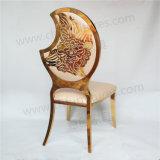 月の形のあと振れ止めの金のステンレス鋼の椅子の結婚式の椅子
