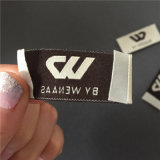 Personalizado 2*4.5cm de plegado final 75D de alta densidad de color beige con Brown letras etiqueta tejida tejido etiqueta Name