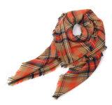 O novo Outono e Inverno Laranja listrado verificado lenço macio