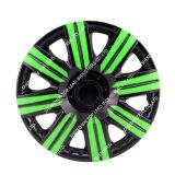 고품질 까만 네온 이색 차 센터 자동차 휠캡 및 유니버설을%s 녹색 바퀴 변죽