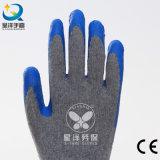 guante revestido de la seguridad de la palma del látex del shell del algodón 10g
