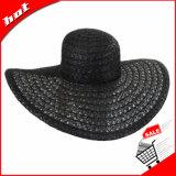 Chapéu de palha flexível com teste padrão de flor