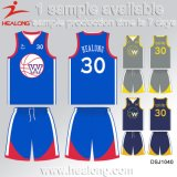 Healong新しいデザインスポーツ・ウェア番号チームクラブ昇華バスケットボールジャージー