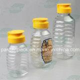 350g Non-Dripシリコーンのパルブキャップ、弁帽(PPC-PHB-06)が付いているプラスチック蜂蜜の瓶