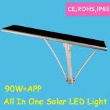 1개의 LED 태양 가로등에서 90W에 의하여 통합되는 디자인 APP 전부