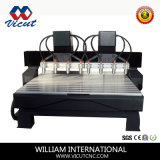 Eixo 4 cabeças múltiplas Madeira Rotativa Roteador 3D VCT-2325W-2Z-8h