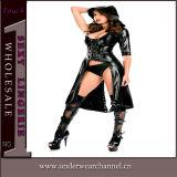 Sexy Lady Couro espartilho preto (TLQZ Lingerie514)