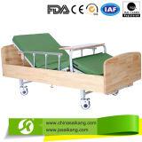 Sk011 Aço inoxidável Hospital Cama Manual de madeira