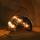 De halve Ronde Houder van Tealight van het Glas van de Vorm voor de Gift van de Dag van de Valentijnskaart