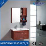 Gabinete de banheiro de madeira fixado na parede moderno com gabinete lateral