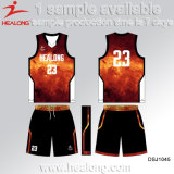 Sublimación completa modificada para requisitos particulares Basketbaljerseys del diseño del color rojo