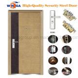 Couleur du bois d'acier Apparment porte métallique extérieure de sécurité (W-S-137)