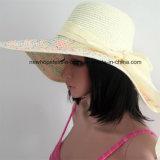Chapéu de palha de 100%, estilo de disquete de moda com decoração de fita