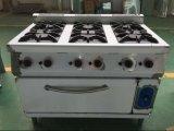 Het Gasfornuis van het roestvrij staal met de Oven van het Gas voor het toestel van de Catering (hgr-76G)