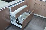 Champagne-Farben-metallischer Lack-Lichtbogen-Form-Entwurfs-moderner Küche-Schrank