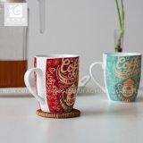 Copos de chá cerâmicos da impressão cheia do decalque ou do corpo branco