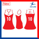 Healongの高品質のスポーツ・ウェアデザイナー染料のデジタル印刷のネットボールジャージー