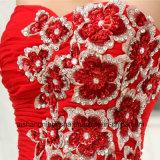 軽くて柔らかくまっすぐなアップリケの外装のプロムの服の上のSweethheartの不足分