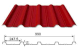 Оцинкованного стального листа крыши 990 Тип цвета миниатюры на крыше для строительного материала