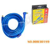 Le fil bleu transparent 5m le raccord coudé au câble AV TV droites avec boucle double spécial pour CATV (AV-TV Blue-Double Loop-Color03-5M-Box)