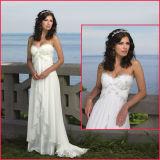 Платье венчания H001 Boho империи без бретелек Bridal пляжа мантии шифоновое