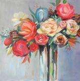 Rosafarbene Rosen-Blumenfarbanstriche - Segeltuch-Wand-Kunst mit Funkeln