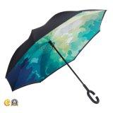 カスタム印刷の二重層の方法逆の傘、車の傘