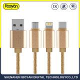 1本のタイプCまたはマイクロまたは電光ケーブルUSBデータ充電器ワイヤーに付き3本