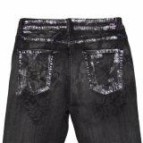 Jeans della stampa del nero di alta qualità delle donne (5671)