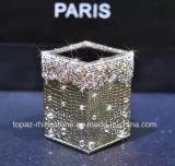 (TB-Gouden) Doos van het Weefsel van het Bergkristal van de Buis van de Opslag van het Bergkristal van de Houder van de Pen van de Sticker de Gouden Pu van het kristal