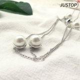 方法女性のアクセサリーのCZの石が付いている白い淡水の真珠の鎖のネックレス