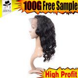 Pleines perruques indiennes de lacet du cheveu 100% de Remy