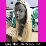 Peruca cheia brasileira do laço do cabelo humano do Blonde 100% de Lilibeauty 1b/613 em linha reta para o preto