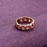De eenvoudige Gouden Ring van Tanzanite van de Trouwring van het Roestvrij staal van de Stijl