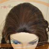 Machine faite de couleur brun foncé Curly perruque juive (PPG-L-0783)