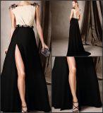 Crème noir robe de soirée robe de cocktail perlé Satin 2018 E272