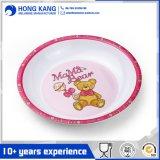 Vaisselle ronde mignonne de mélamine de plaque de nourriture de dîner pour le gosse