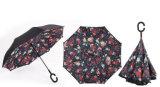 겹켜 여자를 위한 거꾸로 한 C 손 홀더 대 비 방풍 우산을 접히는 반전 우산