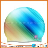品質長い毛のためのフルカラーOEMのシリコーンの水泳の帽子