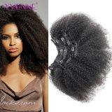 Clip brasileño sin procesar del enrollamiento del Afro del pelo humano en la extensión del pelo