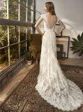 Uma linha laço que nivela o vestido de casamento nupcial