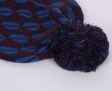 Unisex связанный Beanie шлема зимы печатание POM POM губ жаккарда теплый (HW153)