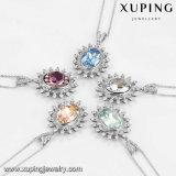43604 Xuping Moda Color Mayorista de rodio chapado en oro y cristales de Swarovski Collar de joyas de mujer