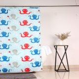 Resistente al moho y moho cortina de ducha de tela impresa con pulpo Design