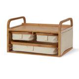 La moda de doble capa Organizador de la caja de almacenamiento de cajón de la combinación de madera
