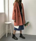 Europäischer Entwurfs-Frauen-Form-Winter-Reißverschluss-langer Mantel