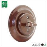 Interruptor de la pared de la porcelana de la vendimia e interruptor ligero rotatorio de cerámica montado rubor del socket