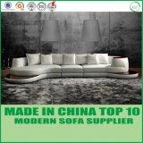 Insieme sezionale moderno del sofà del cuoio genuino di stile dell'ufficio di legno