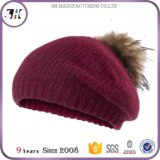 Latest Custom Personalized Wool Women Berets with Fur POM