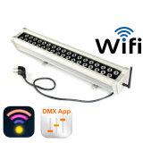 RGB LEIDENE DMX de Verlichting van het Gordijn van de Waterval van de Draadloze WiFi Wasmachine van de Muur